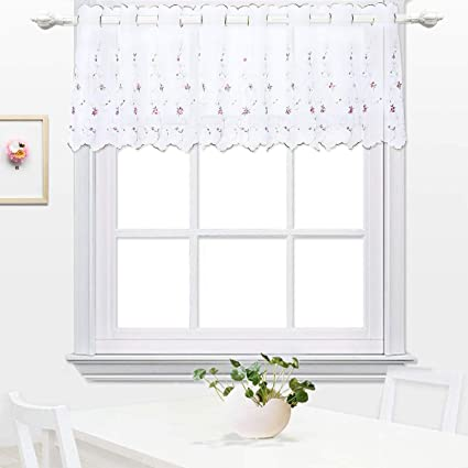 Amazon Embroidery Kitchen Tier Curtain Cafe Dining
