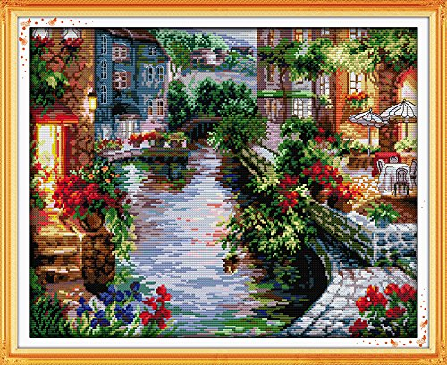 Joy sunday The lakeside houses cross stitch pattern kits handcraft make embroidery with chart (11CT picture printed F401)