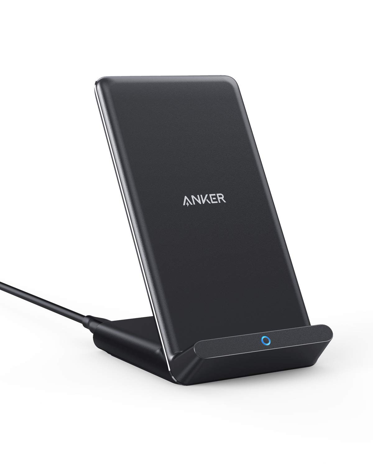 Anker Wireless Charger, 10W Max PowerWave Stand Upgraded, Qi-Certified, 7.5W for iPhone 11, 11 Pro, 11 Pro Max, XR, Xs Max, XS, X, 8, 8 Plus, 10W for Galaxy S10 S9 S8, Note 10 Note 9 (No AC Adapter)