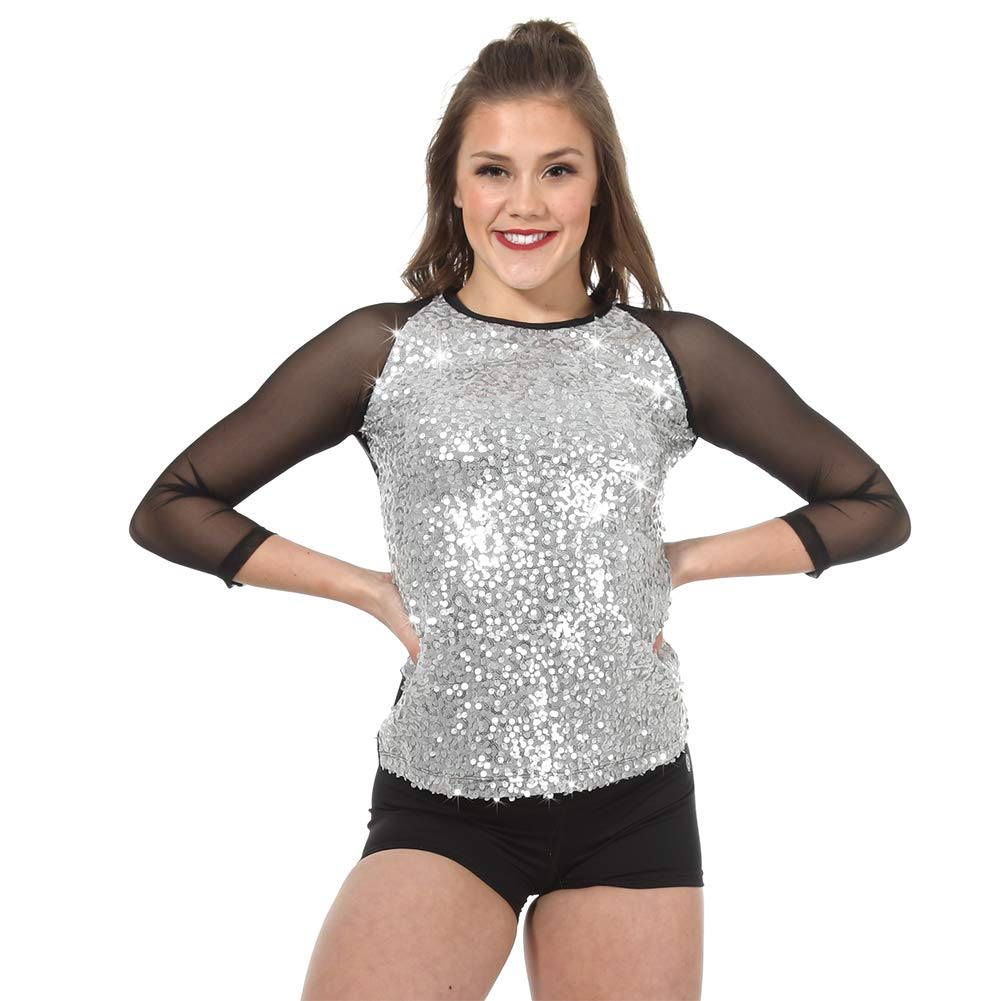 Performance 3/4 Sequin Top Silver by Alexandra Collection