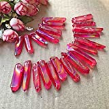 lgw crystal 50g Natural Aura Quartz Crystal Wand Point Pendant Gemstone Healing Titanium Tibetan Energy obelisk Necklace about;10-13pcs (red)