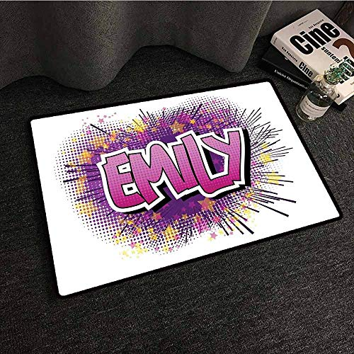 Mkedci Front Door Mat Large Outdoor Indoor Emily Hugely Popular Name in English with Pop Cartoon Elements Personal Easy to Clean W16 xL24 Purple Fuchsia and Pale Yellow -