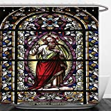 Interestlee Shower Curtain Sacred Heart of Jesus Pictures Catholic Gifts Believe Art Christian Church Cathedral Window View Silky Satin Red Black White Blue