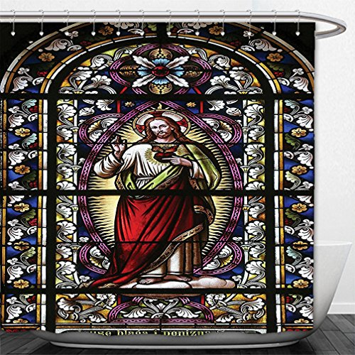 Interestlee Shower Curtain Sacred Heart of Jesus Pictures Catholic Gifts Believe Art Christian Church Cathedral Window View Silky Satin Red Black White Blue (Curtains Flowered Red)