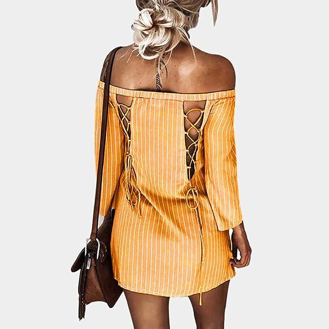 Vestido de Mujer otoño, ❤ Absolute Mini Vestido de Manga Larga con Cuello en V Manga Larga a Rayas de Invierno Sexy: Amazon.es: Ropa y accesorios