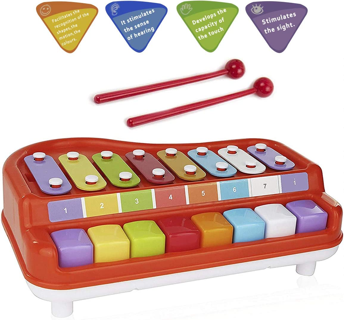15 Note Colorful Xylophone Piano Toys w// 2 Mallets C Key for Toddler Kids
