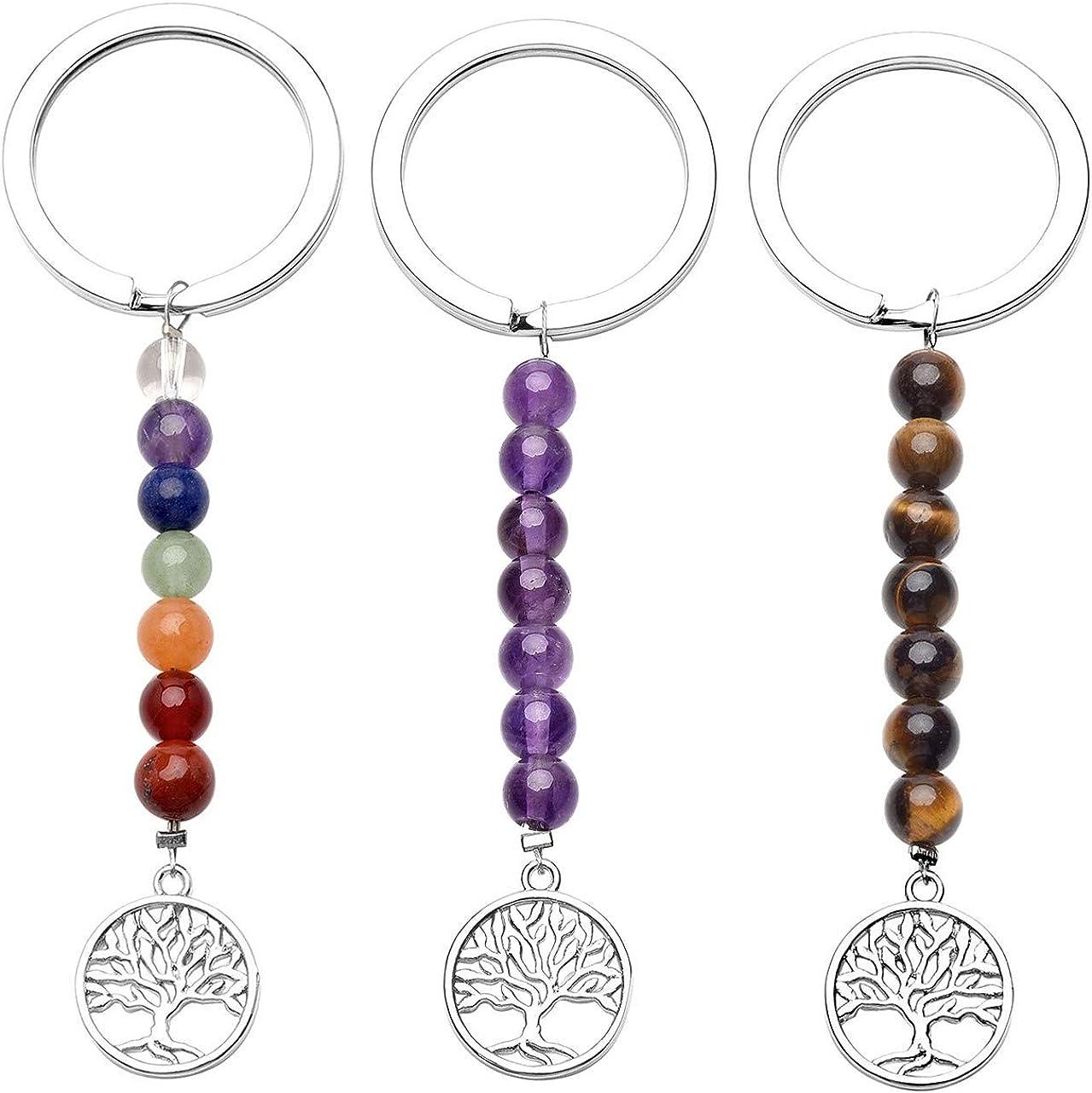 CrystalTears - Juego de 3 llaveros para mujer con forma de árbol de la vida, con 7 piedras naturales de aleación de plata, regalo para amigos