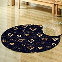 Round Area Rug hand drawn vector seamless background pattern with hearts gold and black backdr Indoor/Outdoor Round Area Rug -Round 24
