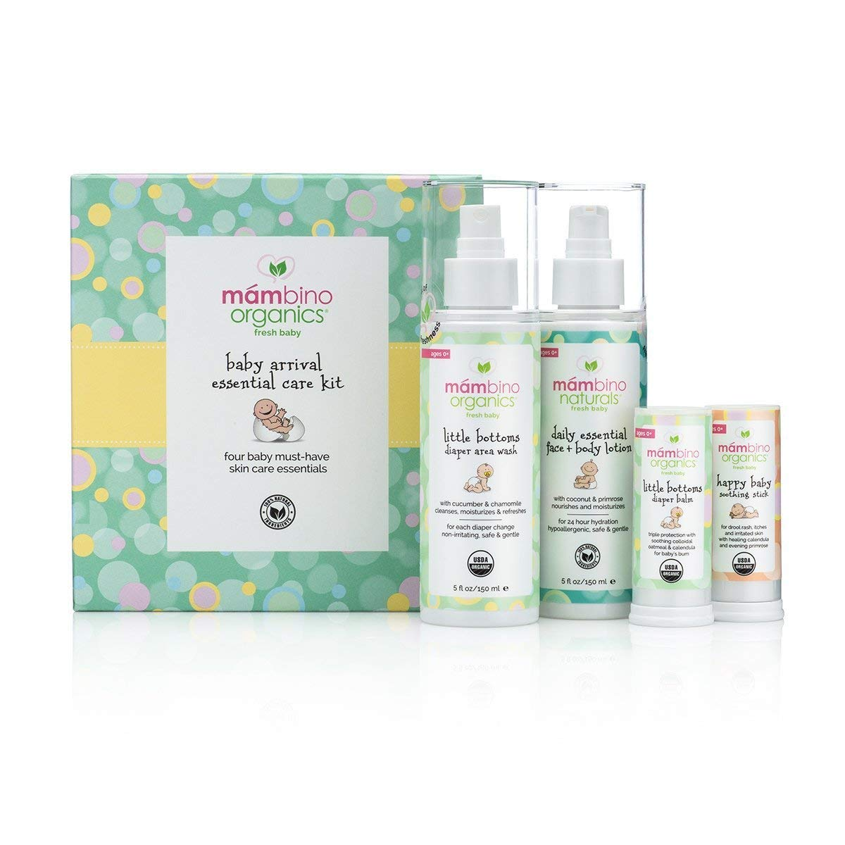 Mambino Organics Baby Arrival Kit Essential Care Kit, Little Bottoms Diaper Balm + Happy Baby Soothing Stick + Little Bottoms Diaper Area Wash + Daily Essential Face And Body Lotion, 10 Fluid Ounces