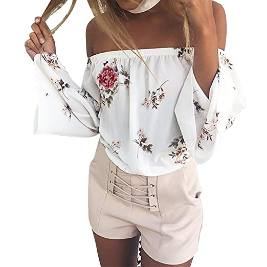 f8e094e38c4ca7 Poptem Womens Off The Shoulder Tops Floral Print Long Sleeve Blouses Summer  Strapless Sexy Shirt at Amazon Women s Clothing store