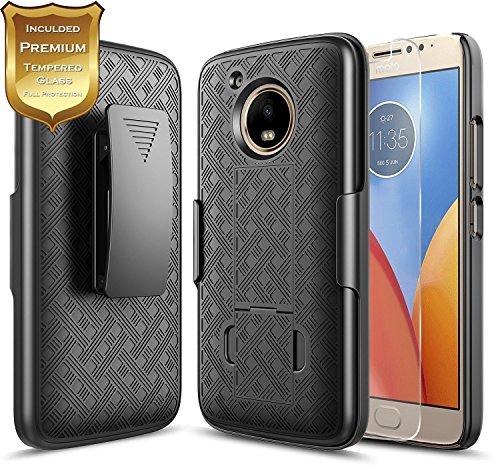Moto E4 Case with [Tempered Glass Screen Protector], NageBee Combo Shell & Holster Case Super Slim Case w/Built-in Kickstand [Swivel Belt Clip] for Motorola Moto E4 / Moto E (4th Generation) -Black