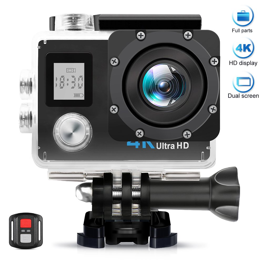 AIMTOM TL-9 Action Camera, 16MP 4K FHD Video Camera 2'' Screen 30M Waterproof 170 Degree A+ Super Wide Vision, Waterproof WIFI Remote Double Screen Portable Sports Cam Underwater Case Helmet Mount by AIMTOM
