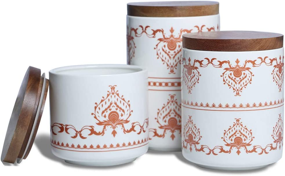Sunddo Ceramic Canister Set with Bamboo Lid Perfect Coffee Tea Food Storage Candy Sugar Canisters - Modern Design Porcelain Jar Kitchen Container,Gift for Women,Round Orange Pattern Set of 3