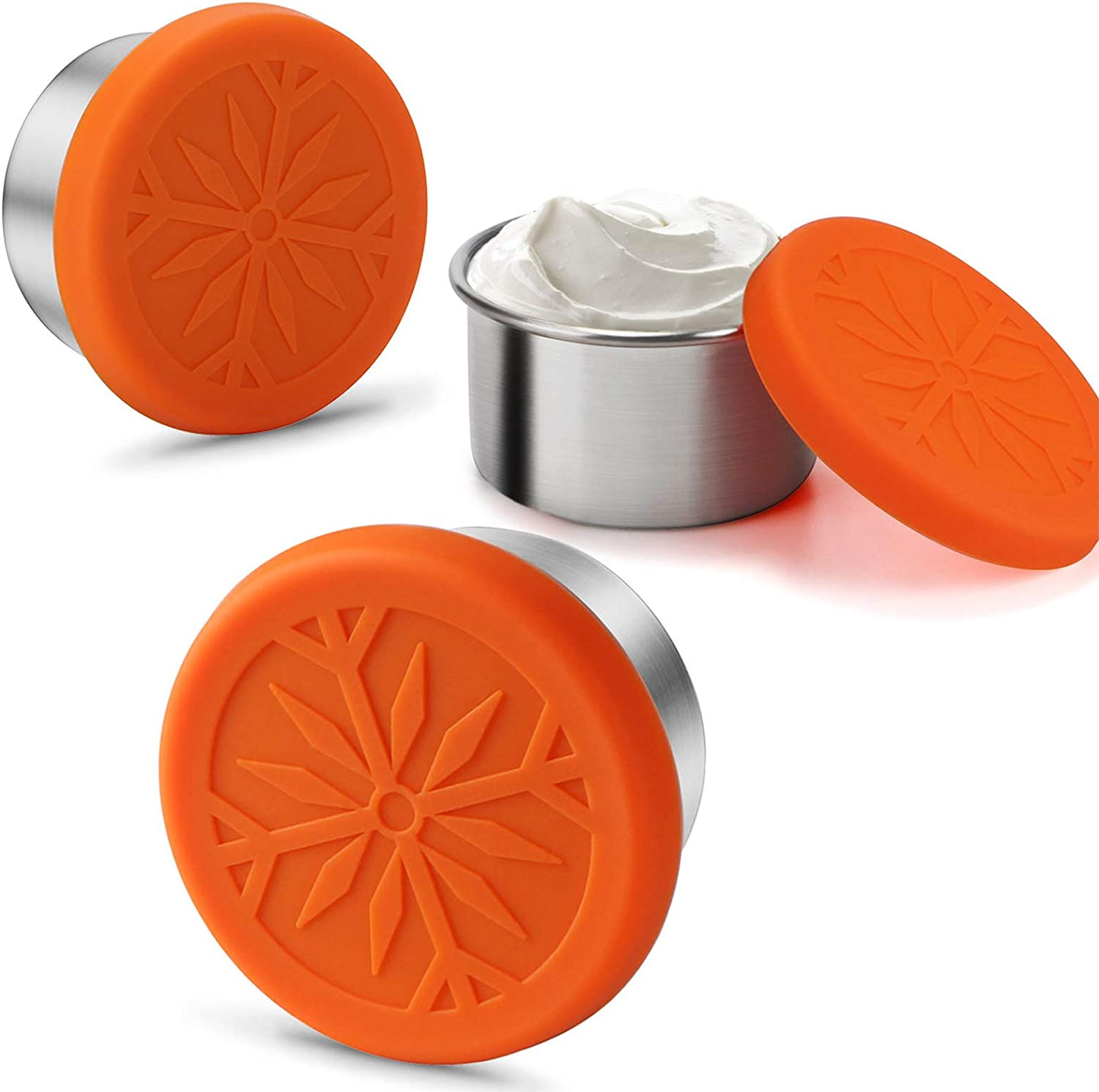 FANGSUN Dressing Containers to Go for Condiments, Salad Dressing, Dips, Snacks, Stainless Steel Dipping Sauce Cups, Fits in Bento Box for Lunch, Mini Food Storage Containers with Lid (Orange)
