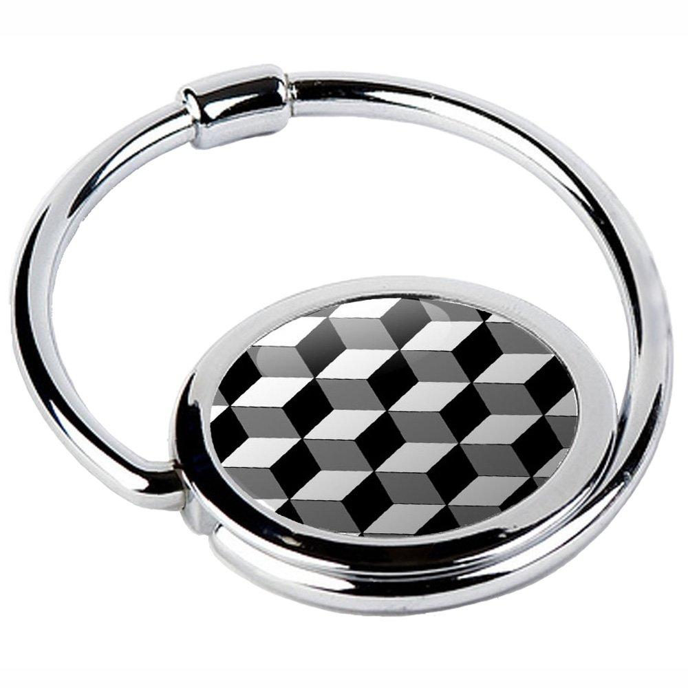 Miss Kha–Handtaschenhalter mit Haken klappbar Würfelmotiv schwarz/weiß CIRCLE-39