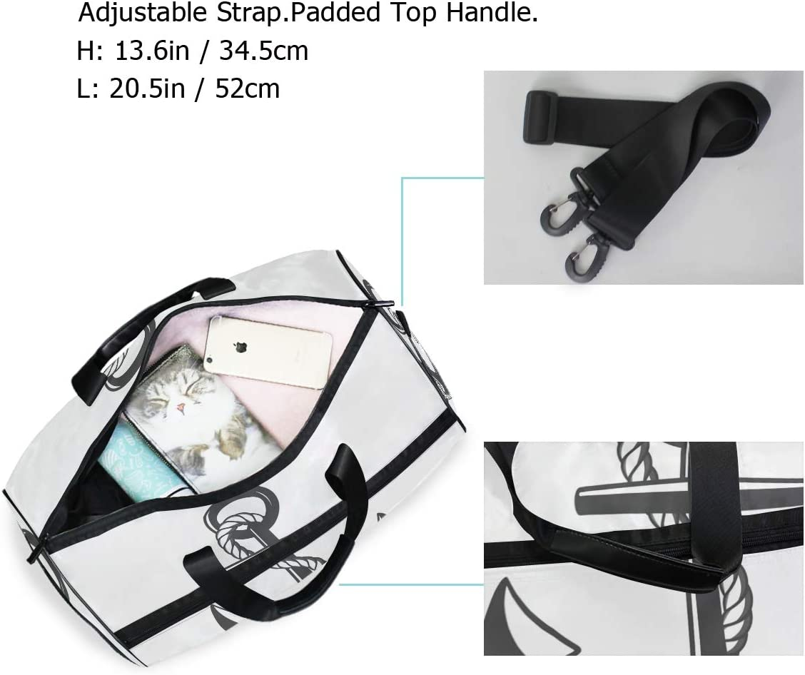 FAJRO Duffle Bag for Women Men Cool Anchor Travel Duffel Bag Large Size Water-proof Tear Resistant
