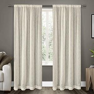Exclusive Home Belgian Textured Linen Look Jacquard Sheer Rod Pocket Curtain Panel Pair, Snowflake, 54x84, 2 Piece