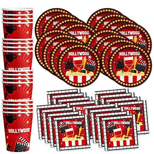 Hollywood Movie Night Birthday Party Supplies Set Plates