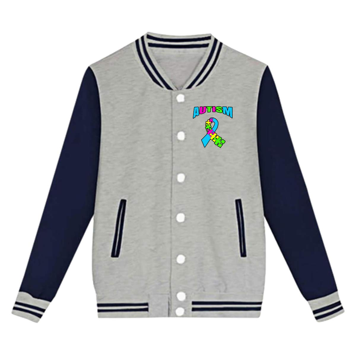 Boys Or Girls Casual Baseball Jacket//Uniform Team Jackets Winter Coats Bing4Bing Autism Awareness Puzzle Pieces Teens Coats