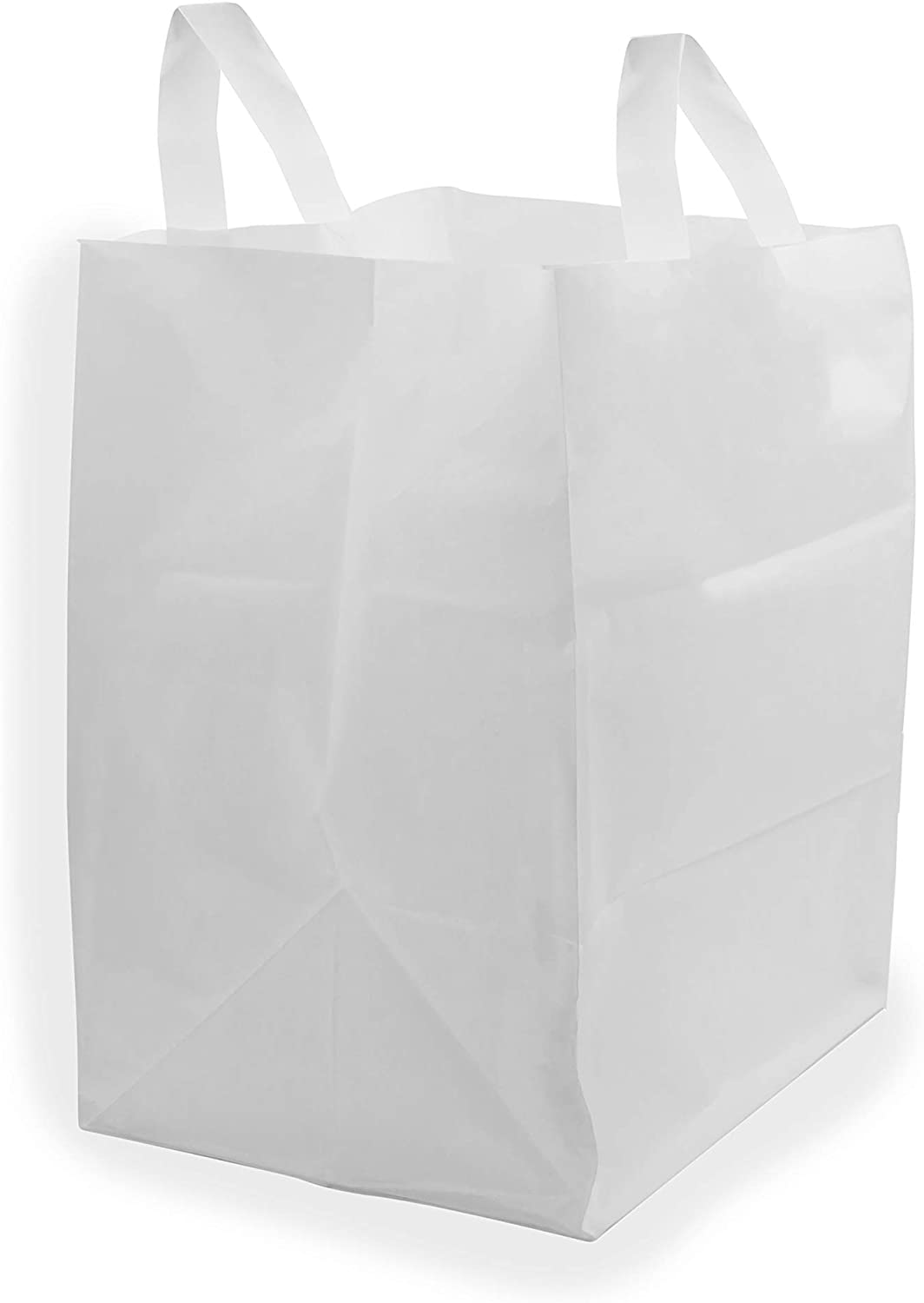 Thick White Plastic Shopping Bags with Handles & Cardboard Bottom, Merchandise Bags, Food Service Bags, Take Out Bags, Gift Bags Bulk (12x10x16 250 pcs.)