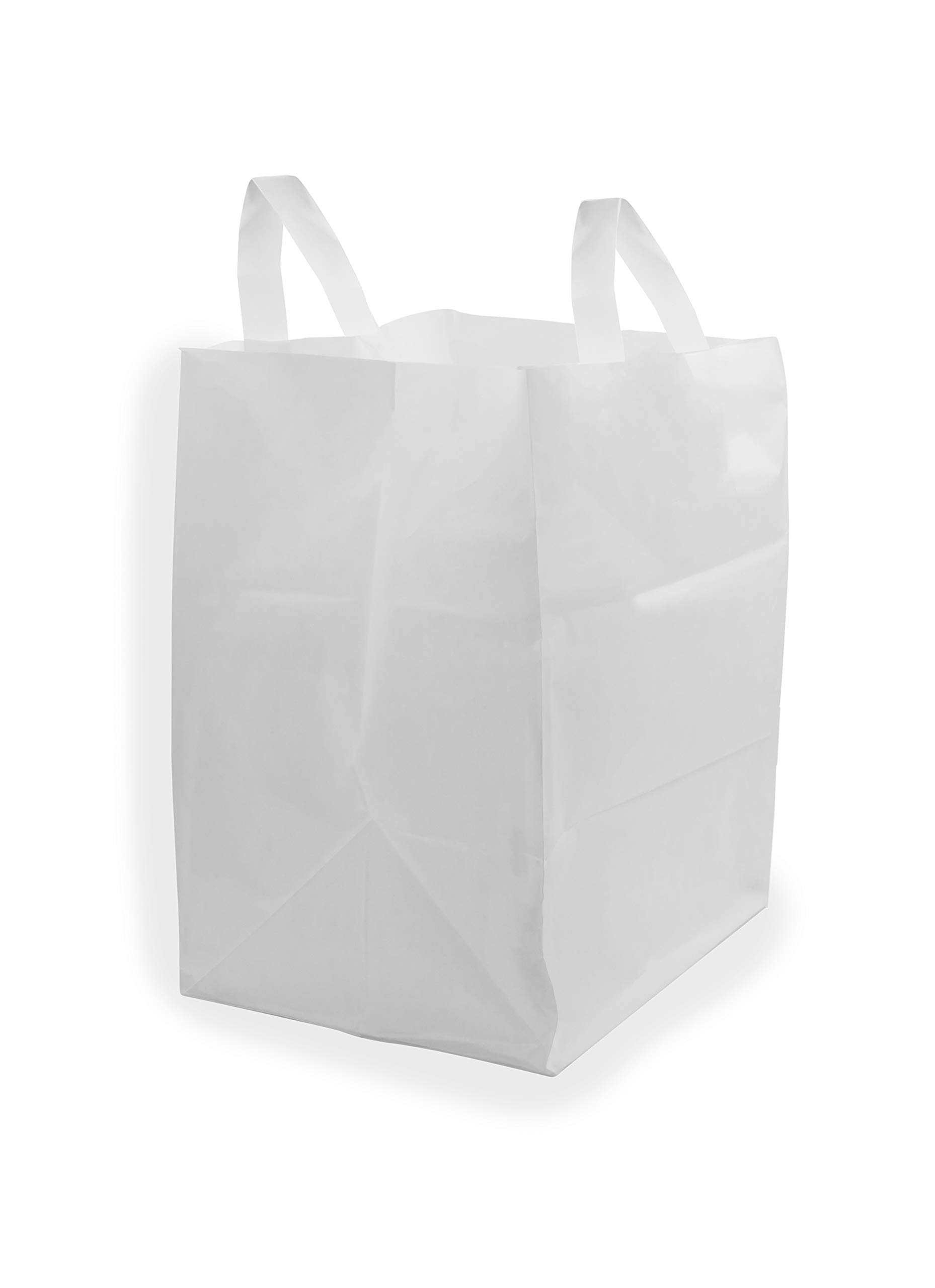 12x10x16'' 250 Pcs. Thick White Plastic Shopping Bags with Handles & Cardboard Bottom, Merchandise Bags, Food Service Bags, Take Out Bags, Gift Bags Bulk