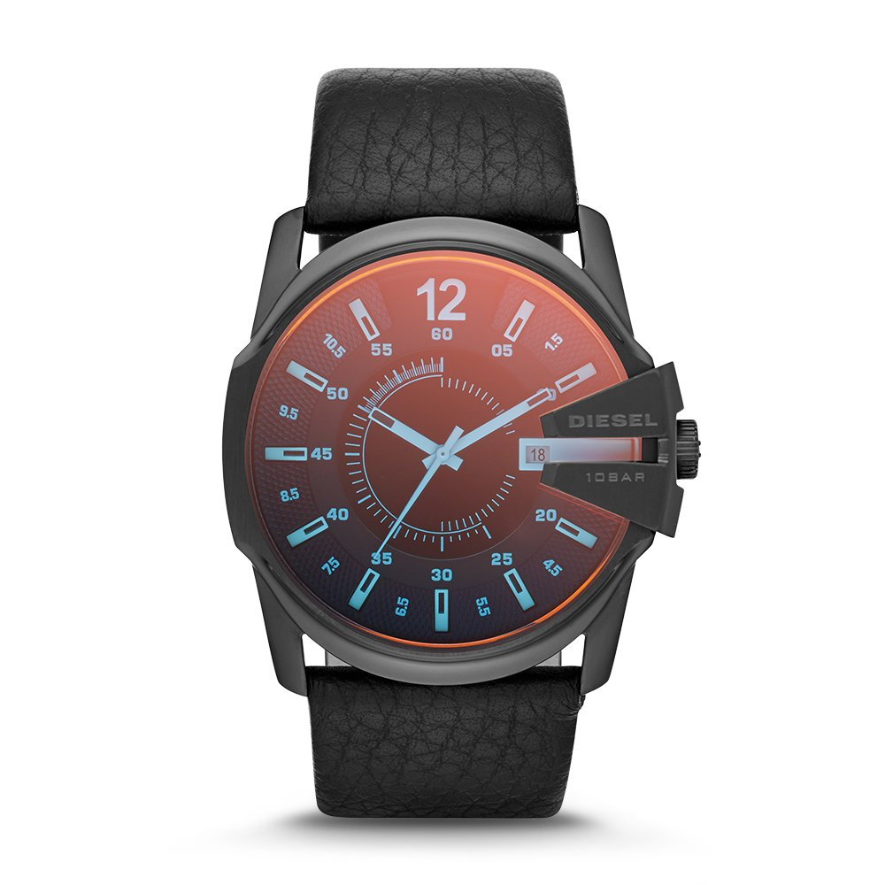 Diesel Men's Master Chief Quartz Stainless Steel and Leather Casual Watch, Color: Black (Model: DZ1657)