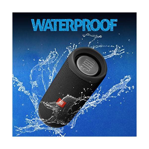 JBL Flip 5 Enceinte Bluetooth Portable avec Batterie Rechargeable, Étanche, Compatible Siri et Google, Noir 4