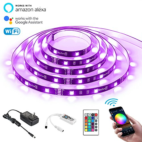 LED Strip Lights, Nexlux Wifi Wireless Smart Phone Controlled Light Strip Kit 16.4ft 150leds 5050 Non-Waterproof LED Lights ,Working with Android and IOS System,Alexa, Google Assistant