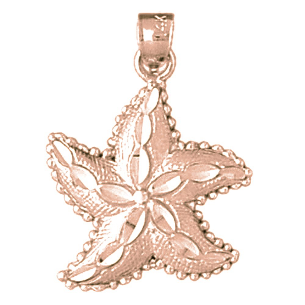 Rose Gold-plated Silver 25mm Starfish Pendant