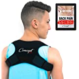 Adjustable Natural Posture Corrector for Women and Men | High Back Support + Pain Relief Remedies Ebook | Flat Kyphosis Brace | Clavicle Straightener