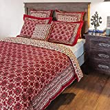 Saffron Marigold Ruby Kilim Reversible Cotton Duvet Cover | Damask Turkish Kilim Moroccan Geometric Middle Eastern Mosaic Hand Printed Decorative Comforter Cover Queen