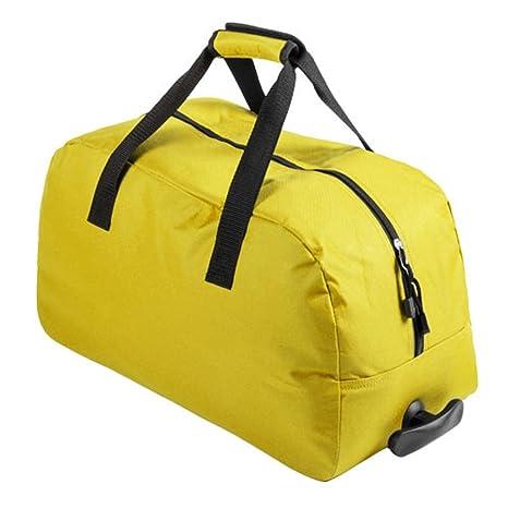 Bolsa trolley de viaje con 2 ruedas, apta equipaje cabina (Amarillo)