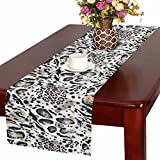 InterestPrint Watercolor Leopard Spots and Tiger Stripes Animal Prints Skin Table Runner Cotton Linen Home Decor for Home Kitchen Wedding Party Banquet Decoration 16 x 72 Inches