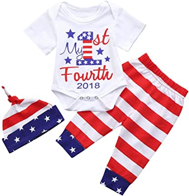 Efaster Baby Girl Boy 4th of July Letter Tops+Stars Striped Shorts+Headband Set