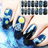#4: Bluezoo Full Nail Art Sticker Van Gogh's Starry Night Fullnail Stickers,14 Decals/sheet,Shimmery Glittery Nail sticker (Pack of 2 PCS)
