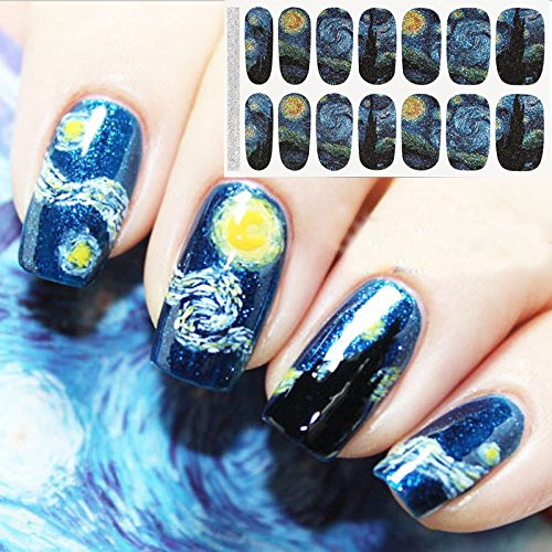 Bluezoo Full Nail Art Sticker Van Gogh's Starry Night Fullnail Stickers