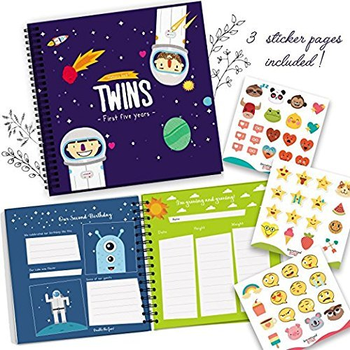 Astronaut Edition - Twins First Five Years Memory Book with Stickers - Baby 1st Year Milestone Photo Album - Newborn Hard Cover Journal - Babies Personalized Keepsake Scrapbook Diary