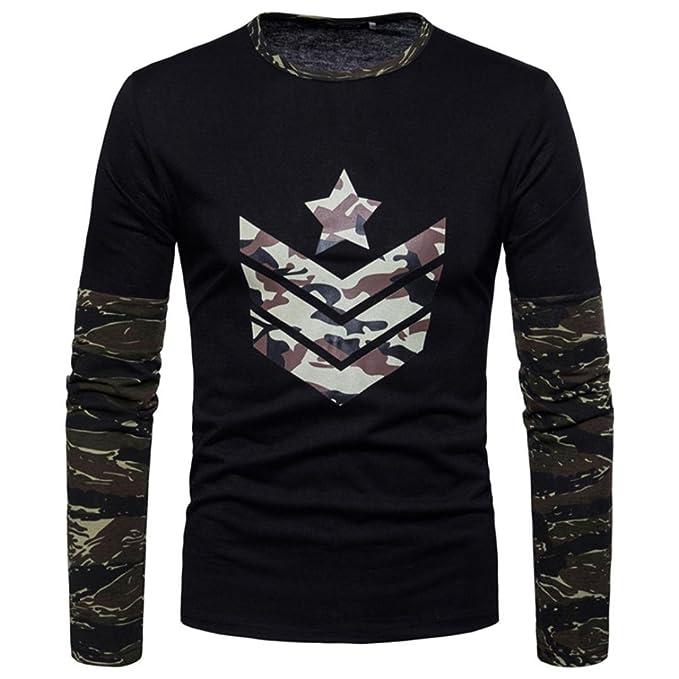 ♚Btruely Herren Camisetade Hombres de Cuello Redondo Sudaderas del Camuflaje impresión Conjunta Blusa de otoño. Pasa ...