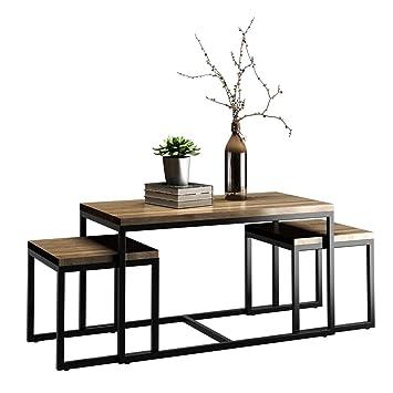 Amazoncom Giantex 3 Piece Nesting Coffee End Table Set Wood