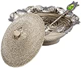 Swarovski Crystal Coated Handmade Brass Sugar Chocolate Candy Bowl Serving Dish (Silver)