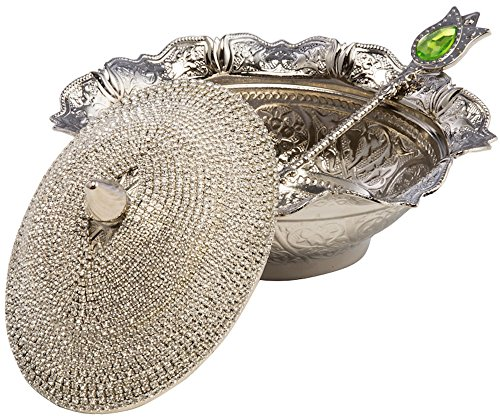 - Swarovski Crystal Coated Handmade Brass Sugar Chocolate Candy Bowl Serving Dish (Silver)