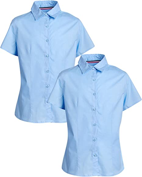 Girls Blouse Shirts School Uniform White Blue,Long,Short Sleeves Twin Pack