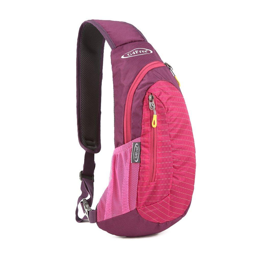 G4Free Multipurpose Daypacks Sling Bags for Women, Casual Cross Body Bag Sling Pack Red Chest Pack for Girls Cycling Travel(Rose)