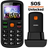 """Unlocked Cell Phone, T Mobile UNIWA Dual Sim Senior Cell Phone 1.77"""" Large Screen Big Button Large Digital Old Man Kids Emergency Cell Phone with SOS Button FM"""