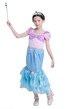 7ed7d405b600a Vogue(ボーグ) アリエル 風 コスプレ ドレス ワンピース ハロウィン 衣装 子供 仮装 女の子 女王 姫