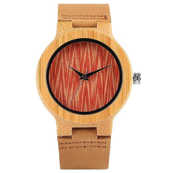 Wavy Face Reloj de Madera para Mujer,Reloj de Pulsera Mujer ES Hecho a Mano Madera Naturaleza Reloj de Pulsera de Bambú: Amazon.es: Relojes