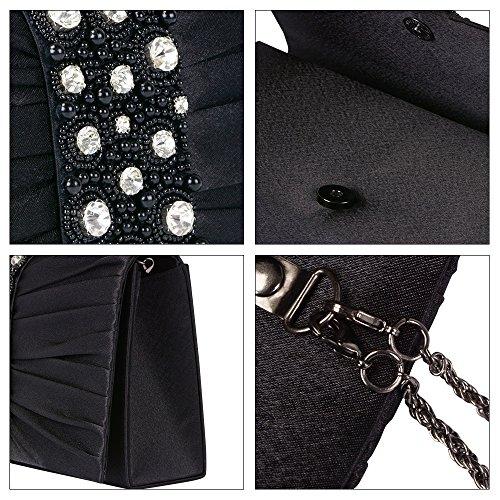 Evening Clutch handbag Bag Large Wedding Bridal Beaded Emour Stain Black Prom Purse Women��s 5PqgEAxw4