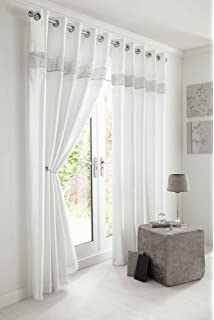 WHITE SILVER DIAMANTE LINED CURTAINS WITH EYELET RING TOP 46 X