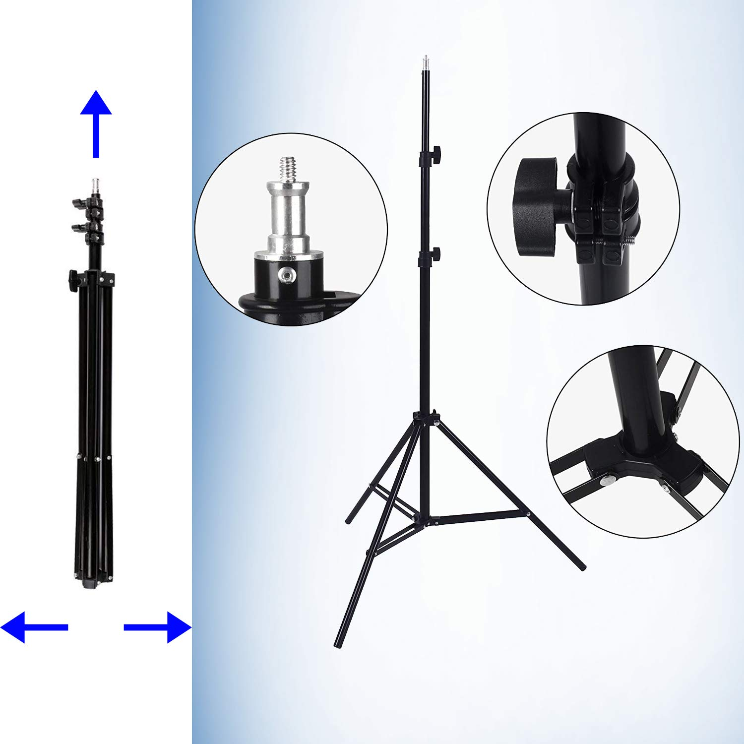 Upland 33-Inch 2 Umbrella Lights with Backdrop System, for Photo Photography, Video Studio Lighting, 1 Backdrop Support Stand (6.6x6.6 Feet), 3 Backdrops (5.4x 10 Feet) by Upland (Image #3)