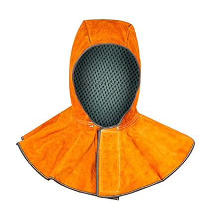 LIOOBO Capucha Protectora Casco para Soldar de Cuero Resistente al Calor Tapa del Cuello Cubierta (